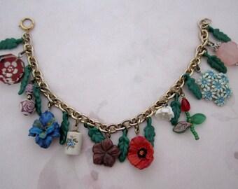 handmade flower themed charm bracelet w vintage components - j6238