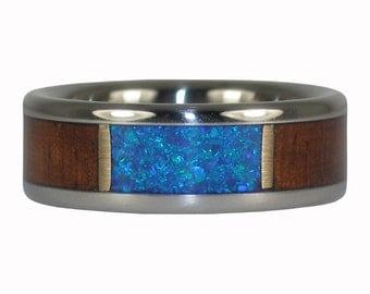 Dark Koa and Blue Lab Opal Ring