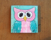 Owl Painting, bright, colorful, whimsical original folk art painting