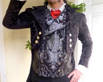 Black Velvet Jacquard  French Steampunk Wedding Frock Cutaway Coat, Waistcoat, Frilly Shirt and Cravat