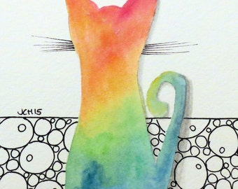 "Tie Dye Cat with Pebbles/Bubbles Watercolor and Ink Painting Drawing  5"" x 7""  Wall Art"