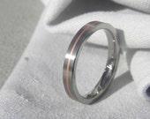 Titanium Ring, Wedding Band, Copper Pinstripe Inlay, Satin