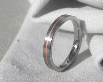Titanium Ring, Wedding Band, Copper Pinstripe Inlay, Satin