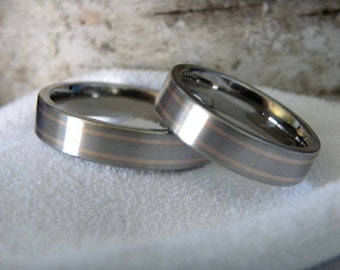 Matching Ring Set or Wedding Bands, Titanium with Rose Gold Inlay Pinstripes