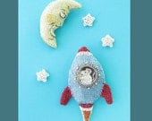 Mouse in a rocket, cheese moon and stars brooch set - sci fi fantasy jewelry, animal brooch
