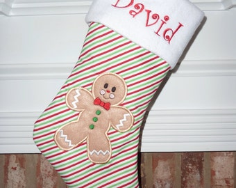 Applique Ginberbread Boy Personalized Christmas Stocking