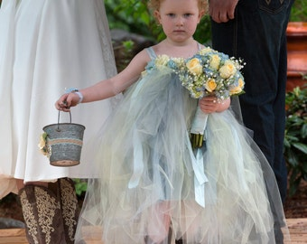 Flower Girl Tutu Princess Tulle Dress and matching Flower Crown Set-Mix and Match Colors-CRBoggs Original