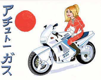 A Tutto Gas! Moto Morini magazine cover, Japanese special 420x300mm signed & numbered giclee print, 14 from edition of 100.