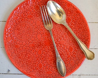 Red Wobbly Plate - MILLEFLEURS pattern - dinner plate - ceramics - Wobbly Plates Series