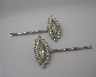 Hair Pins WEISS Vintage Rhinestone Bobby Pins Repurposed 1950's Something Old Hair Accessory Glass Bridal Vintage Unique Bride Wedding