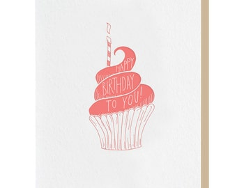 Letterpress 'Happy Birthday To You' Cupcake Card