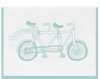 Letterpress 'Just Married Tandem' Greeting Card