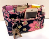 "Purse Organizer Insert/Enclosed Bottom  4"" Depth/ Navy and Pink Floral with Pink and Navy Paisley Lining"