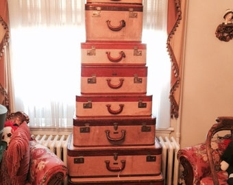 ON SALE     HALF price   Rare 10 piece Set of specail ordered Cavanaugh antique luggage  rare to find all 10 pieces let alone one