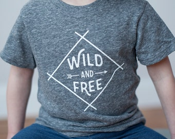 Organic Wild and Free T-Shirt,Gray Toddler Top, Tri-Blend T-Shirt, 18-24M, 2T, 3T, 4T, and 5T, Screen printed shirt by Sweetpea and Co.