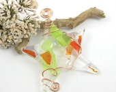Glass Star Suncatcher Orange, Green and Clear Fused Glass Star Ornament - Limited Edition