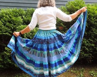 Long Bohemian Three Tier Full Circle Patchwork Skirt