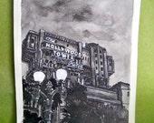 Disney Tower of Terror, Original Art, Ink Painting, 4x6, Archival Stonehenge Paper, Disneyland Resort in California, USA