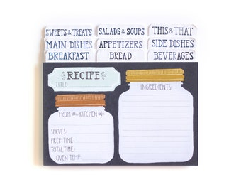 Mason Jar Recipe Cards - Set of 50 with Dividers // 1canoe2 // Hand Illustrated