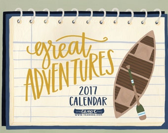SALE Great Adventures | 2017 Illustrated Wall Calendar // 1canoe2