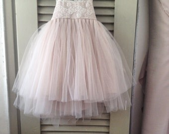 NEW LACES  Magic Orchid French lace and silk tulle dress for baby girl Flower girl dress blush princess dress tutu dress