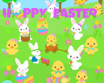Easter Bunnies and Chicks  Digital Clipart, clip art collection
