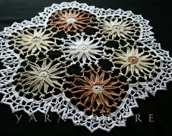 The Earth Doily - Hand Crocheted Doily In Beautiful Earth Tones