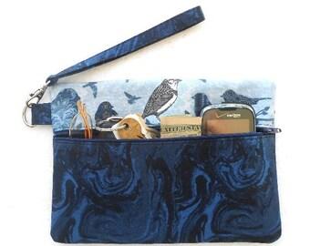 Navy Blue Clutch, Bird Print Wristlet Purse, Cell Phone Wristlet, Camera or Gadget Holder, Small Front Zip Purse, Zippered Wallet