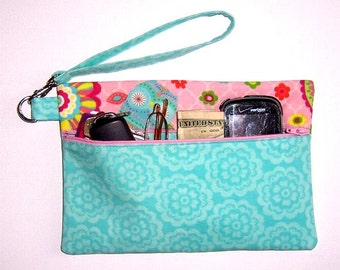 Turquoise Floral Phone Wristlet, Pink Owls Clutch, Wristlet Wallet, Small Front Zippered Purse, Camera or Gadget Bag, Front Zip Cosmetic Bag