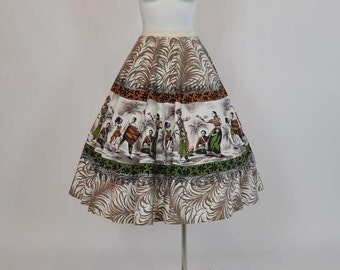 1950s circle skirt / Vintage 50's Mexican Sequin Novelty Print Full Circle Skirt