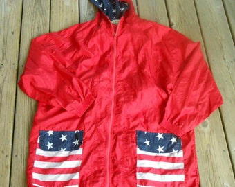 Vtg 80s Hooded Seapunk CLub Kid American FLag Stars Stripes Hella 90s Backpack July 4th Grunge Punk Windbreaker Lightweight Dress Jacket