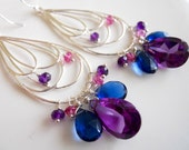 Purple Alexandrite Kyanite blue colored quartz amethyst earrings, Style Napa Blues Hoop Earrings, minimalist earrings, silver hoops, boho
