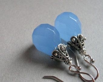 FLASH SALE, Serenity Blue Chalcedony Drop earrings, drop earrings, blue earrings, chalcedony earrings