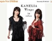 Promo Sale KAMELIA Wrap with Ruffles. Evening Silk Chiffon Stole/ Wrap/ Shawl. 34 colors available
