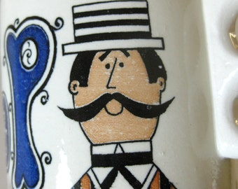 POP Ceramic Coffee Mug / Vintage Barbershop / Mustachioed Man / Old Fashioned Barber / Father's Day Gift