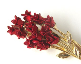 Vintage Red Long Stem Rose Bouquet Brooch / Pin by DM 97 / Flower Vintage Jewelry