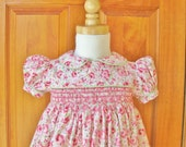 Pink roses, hand smocked dress, size 18 Mo., baby girl, toddler, ready to ship, Easter, classic, shabby roses, party dress, handmade, OOAK