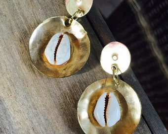 Gold Earrings with Cowrie Shells