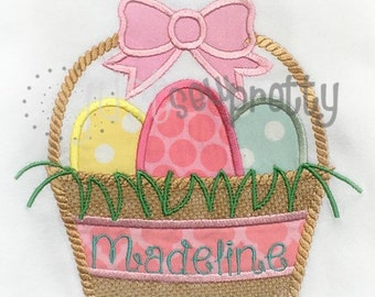 Easter Basket with Bow Embroidery Applique Design