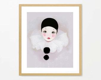Pierrot art, clown art, archival print, cute art, for the nursery, whimsical art, circus art, fairytale art, pierrot painting, home decor