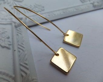 Long or short 16k Gold Plated Square Earrings - on long 16k gold plated hooks or short surgical steel plated hooks