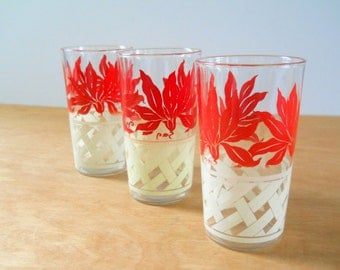 VintageMid Century Glasses • Set of 3 Red and White 1950s Glasses • Floral and Lattice Glasses
