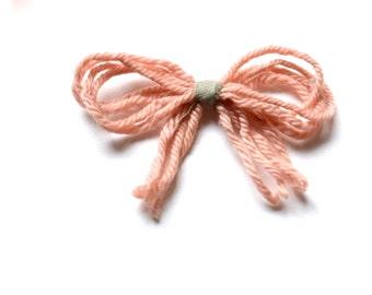 Pink + sage natural dye hair bow