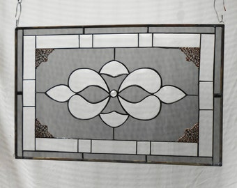 Beveled Stained Glass Panel, Traditional Crystal and Neutral Grey Stained Glass Transom Window, Antique Stained Glass Window, Unique Window