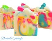 Soap-Bermuda Triangle Artisan Vegan Soap, handmade soap, cold process soap, vegan soap, summer soap, flip flops