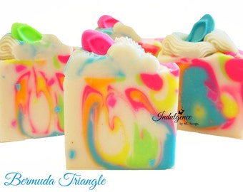 Soap-Bermuda Triangle Artisan Vegan Soap, handmade soap, cold process soap, vegan soap, summer soap, flip flops