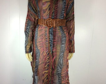 Vintage 80s AVANT GARDE Abstract Print Sheer Tunic Dress / Sz Medium -XL