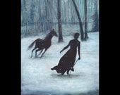 A Winter Tale, Art Print, Winter, Horse, Fairy Tale, Folk Tales, Forest, Snow, Woods, Black Horse, Running, Frost, Ice, Surreal, Snow Storm