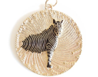 Huge Zebra Medallion Pendant Gold-tone and Black