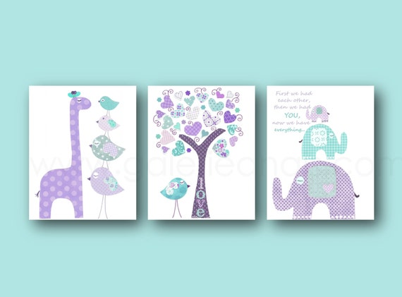 Turquoise and purple Baby Girls room Decor nursery art  Quote First